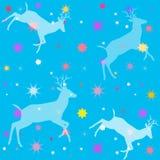 Μπλε υπόβαθρο χρώματος ουρανού με τις μορφές των deers και των αστεριών απεικόνιση αποθεμάτων