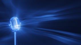 Μπλε υπόβαθρο FX με το περιστρεφόμενο εκλεκτής ποιότητας μικρόφωνο, άνευ ραφής βρόχος, μήκος σε πόδηα αποθεμάτων ελεύθερη απεικόνιση δικαιώματος