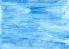 Μπλε υπόβαθρο Watercolor Watercolor σχεδίων χεριών Στοκ Φωτογραφία