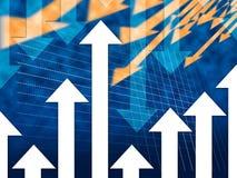 Μπλε υψηλότερος χαμηλότερος μείωσης αύξησης μέσων υποβάθρου βελών απεικόνιση αποθεμάτων
