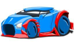 Μπλε φουτουριστικό αυτοκίνητο Απεικόνιση αποθεμάτων