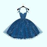 Μπλε φόρεμα κόμματος επίσης corel σύρετε το διάνυσμα απεικόνισης Στοκ Εικόνα