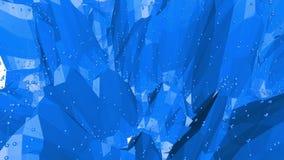 Μπλε χαμηλή πολυ επιφάνεια κυματισμού ως ζωηρό περιβάλλον Μπλε polygonal γεωμετρικό δομένος περιβάλλον ή να κυμαθεί απόθεμα βίντεο