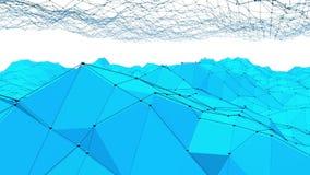 Μπλε χαμηλή πολυ επιφάνεια δόνησης ως τοπίο ή μοριακή δομή Μπλε polygonal γεωμετρικό δομένος περιβάλλον ή ελεύθερη απεικόνιση δικαιώματος