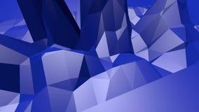 Μπλε χαμηλή πολυ μετατοπιζόμενη επιφάνεια ως σκηνικό παιχνιδιών Μπλε polygonal γεωμετρικό μετατοπιζόμενο περιβάλλον ή κυμαιμένος  απεικόνιση αποθεμάτων