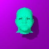 Μπλε χαμηλός-πολυ επικεφαλής απεικόνιση Στοκ Εικόνα