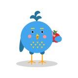 Μπλε χαρακτήρας πουλιών κινούμενων σχεδίων στη γεωμετρική διανυσματική απεικόνιση μορφής Στοκ εικόνα με δικαίωμα ελεύθερης χρήσης
