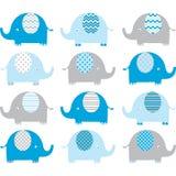 Μπλε χαριτωμένες συλλογές ελεφάντων Στοκ φωτογραφία με δικαίωμα ελεύθερης χρήσης