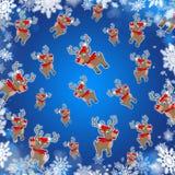 Μπλε χαριτωμένο υπόβαθρο ταράνδων Χριστουγέννων Στοκ εικόνες με δικαίωμα ελεύθερης χρήσης