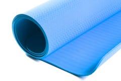 Μπλε χαλί για τη γιόγκα Στοκ Εικόνα