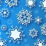 Μπλε χειμερινό υπόβαθρο με άσπρα όμορφα snowflakes Απεικόνιση αποθεμάτων