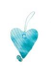 Μπλε χειροποίητη καρδιά βαλεντίνων Στοκ Εικόνες