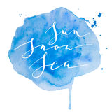 Μπλε χιόνι ήλιων watercolor καλλιγραφίας Στοκ Φωτογραφίες