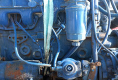 Μπλε χρωματισμένη μηχανή βαρκών Στοκ Εικόνες