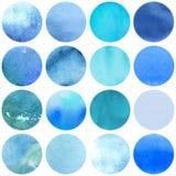 Μπλε χρώματα συλλογής κύκλων Watercolor στοκ φωτογραφίες με δικαίωμα ελεύθερης χρήσης