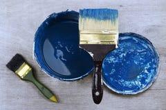 μπλε χρώμα βουρτσών Στοκ Φωτογραφίες