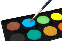 Μπλε χρώμα και βούρτσα Watercolor σε ένα λευκό Στοκ εικόνα με δικαίωμα ελεύθερης χρήσης