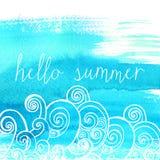 Μπλε χρώμα με τα κύματα και το κείμενο doodle γειά σου διανυσματική απεικόνιση