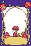 Μπλε χρώμα ύφους μόδας πλαισίων παλαιό με τα κόκκινα τριαντάφυλλα Αναδρομικό ορισμένο διανυσματικό υπόβαθρο Στοκ Φωτογραφίες