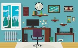 Μπλε δωμάτιο εγχώριας εργασίας Στοκ Εικόνες