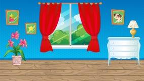 Μπλε δωμάτιο με την κόκκινη κουρτίνα ελεύθερη απεικόνιση δικαιώματος