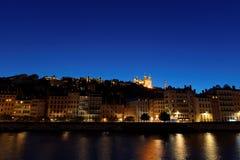 Μπλε ώρα στη βασιλική και τον ποταμό Saone Στοκ εικόνες με δικαίωμα ελεύθερης χρήσης