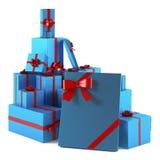 Μπλε δώρα Χριστουγέννων που απομονώνονται Στοκ Εικόνες