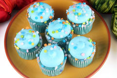 Μπλε Cupcakes στοκ φωτογραφία με δικαίωμα ελεύθερης χρήσης
