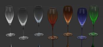 μπλε dof ρηχό κρασί γυαλιών Στοκ Φωτογραφία