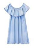 Μπλε flounce τζιν θηλυκό φόρεμα μόδας που απομονώνεται Στοκ Εικόνες