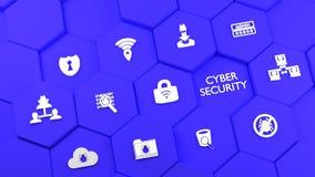 Μπλε hexagon πύργοι με τα εικονίδια cybersecurity Στοκ εικόνες με δικαίωμα ελεύθερης χρήσης