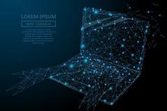Μπλε lap-top wireframe Στοκ εικόνα με δικαίωμα ελεύθερης χρήσης