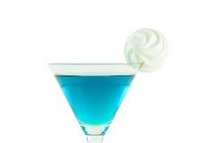 Μπλε martini κοκτέιλ μαρέγκας Στοκ Εικόνες