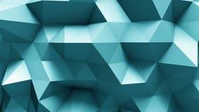 Μπλε polygonal γεωμετρική επιφάνεια ο υπολογιστής παρήγαγε το άνευ ραφής υπόβαθρο κινήσεων βρόχων αφηρημένο διανυσματική απεικόνιση