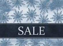 Μπλε Snowflake υπόβαθρο με το μήνυμα πώλησης Στοκ Φωτογραφία