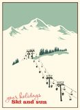 μπλε snowflakes ανασκόπησης άσπρος χειμώνας σκι βουνών ανελκυστήρων & Στοκ Εικόνες
