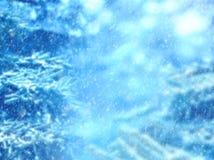 μπλε snowflakes ανασκόπησης άσπρος χειμώνας Χιόνι που αφορά τους κλάδους πεύκων Στοκ φωτογραφίες με δικαίωμα ελεύθερης χρήσης