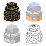 Μπλε three-ply εικονίδιο κέικ στο ύφος κινούμενων σχεδίων που απομονώνεται στο άσπρο υπόβαθρο Διανυσματική απεικόνιση αποθεμάτων  Στοκ Φωτογραφίες