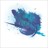 Μπλε Watercolor Σχέδιο και ύφος στοκ φωτογραφία με δικαίωμα ελεύθερης χρήσης