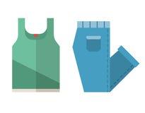 Μπλούζα και διπλωμένα εικονίδια τζιν διανυσματική απεικόνιση