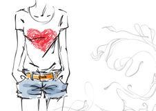 Μπλούζα με μια καρδιά ελεύθερη απεικόνιση δικαιώματος