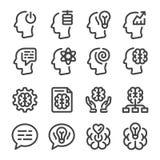 Μυαλό και σύνολο εικονιδίων γραμμών εγκεφάλου ελεύθερη απεικόνιση δικαιώματος