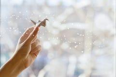 Μυθικός γερανός της Λευκής Βίβλου στο χέρι σας Στοκ εικόνα με δικαίωμα ελεύθερης χρήσης