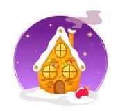 Μυθικό διακοσμημένο σπίτι με έναν ουρανό, λάμποντας αστέρια και μια σφαίρα στο χιόνι σε ένα άσπρο υπόβαθρο απεικόνιση αποθεμάτων
