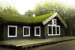 Μυθικό εξοχικό σπίτι με μια μεγάλη στέγη πεζουλιών και χλόης Στοκ Φωτογραφία