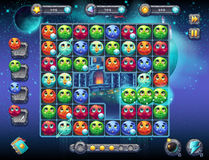 Μυθικό διάστημα απεικόνισης με την εικόνα της οθόνης παιχνιδιών με τη διεπαφή του αγωνιστικού χώρου παιχνιδιών με τους πλανήτες δ Στοκ Εικόνες