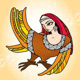 Μυθολογικό πουλί με το κεφάλι της γυναίκας Η σειρά μυθολογικών πλασμάτων Στοκ Εικόνες