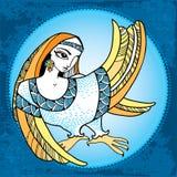 Μυθολογικό πουλί με το κεφάλι της γυναίκας στο στρογγυλό πλαίσιο Η σειρά μυθολογικών πλασμάτων Στοκ Εικόνες
