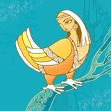 Μυθολογικό πουλί με το κεφάλι της συνεδρίασης γυναικών στον κλάδο Η σειρά μυθολογικών πλασμάτων Στοκ Εικόνες