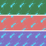 Μυρμήγκια κινούμενων σχεδίων σε μια πλάτη χρώματος Στοκ Φωτογραφία